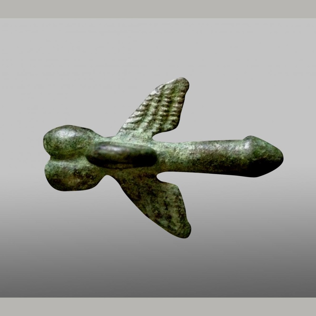 Ancient Roman Bronze Winged Phallus Pendant