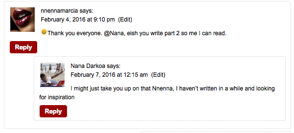 Screen grab of comment between Nnnena and I
