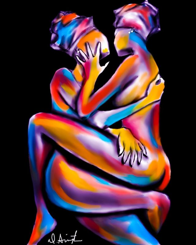 Colourful nude painting of two black women lying together