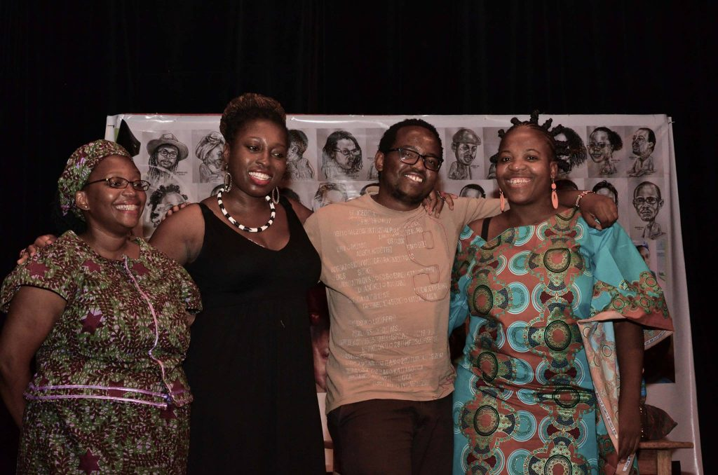 From left to right: Dr Stella Nyanzi, Nana Darkoa, Moses Kilolo and Zukiswa Wanner after a panel discussion at Writivism 2015