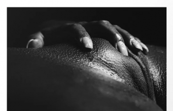 black and white image of an African woman's vulva