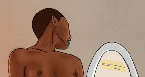 Illustration of an African woman admiring her naked body in a mirror.
